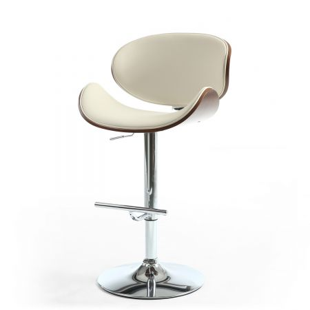 Eliana Walnut Leather Match Cream Bar Stool