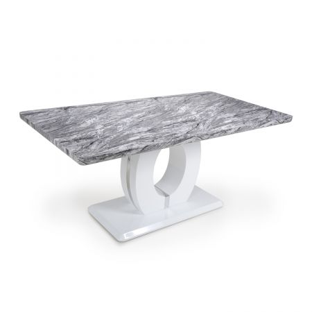 Chiara Large Marble Effect Top High Gloss Grey/White Dining Table