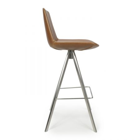 Luis Scoop Seat Leather Match Urban Tan Bar Chair