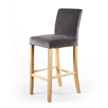 Ferdinand Ring Back Brushed Velvet Grey Bar Chair