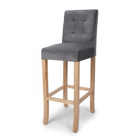 Oliver Button Back Brushed Velvet Bar Chair