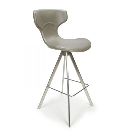 Luis Curved Back Leather Match Bar Chair