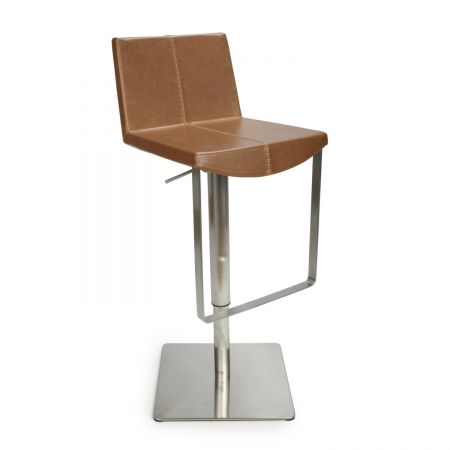 Luis Square Back Leather Match Bar Stool