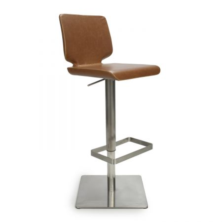 Luis Square Base Leather Match Bar Stool