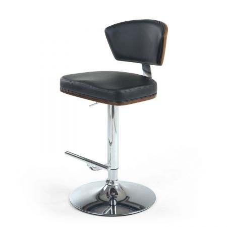 Davide Walnut Leather Match Cream Bar Stool