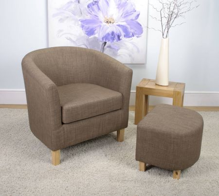 Marcel Tub Linen Effect Chair & Stool Set