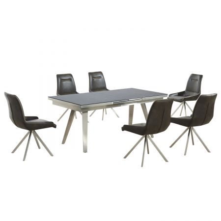 Esmeralda Extra Large Extendable Textured Glass Antique Dining Table with 6 Chairs