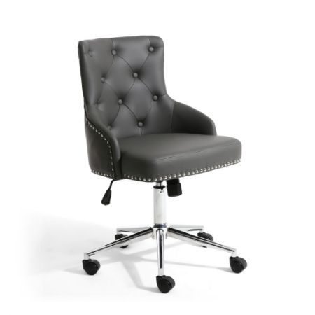 Rokia Leather Effect Yellow Office Chair