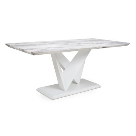 Santos Large Marble Effect Grey/White Dining Table