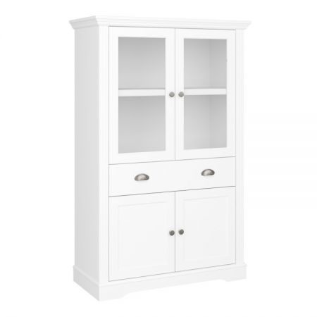 Veriena - White 4 Dr 1 Drawer Display Cabinet