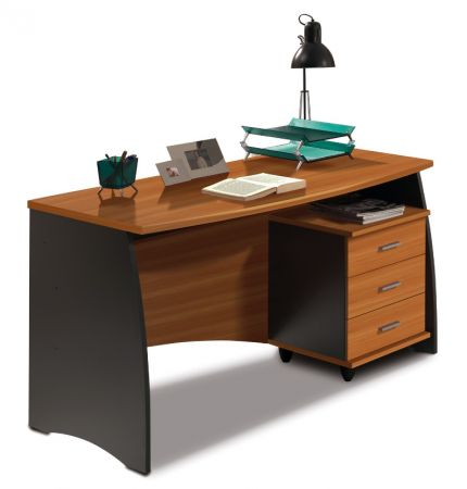 Stillo Nut Brown and Office Grey Desk With Drawers - 2486
