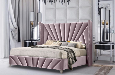 The Matrix Plush Velvet Fabric Bed Frame