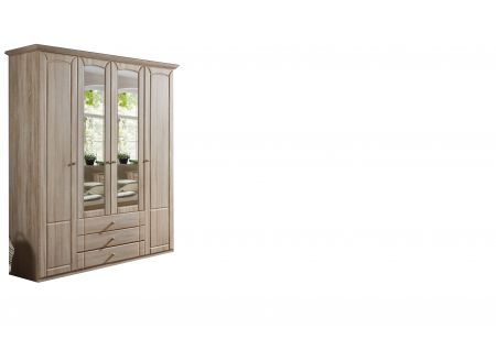 Patricia A 187 cm Wide Four Door Robe With Mirrors And And Drawers Oak