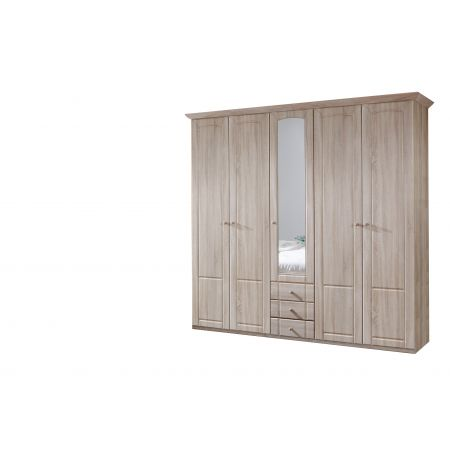 Patricia A 232 cm Wide Five Door Robe With Mirror And And Drawers Oak