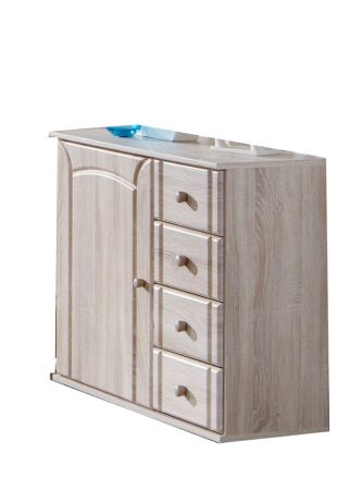 Patricia A 81cm Wide Chest Of Drawers With Side Cupboard Oak