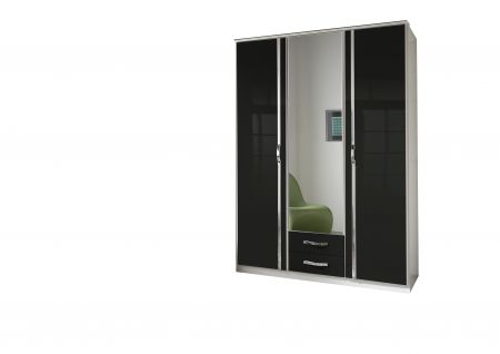 Trident 3 Door  Robe With 1 Mirrors And Drawers White and Black
