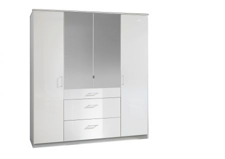 Cobra 180 cm Wide 4 Door Robe With Mirrors And Drawers White