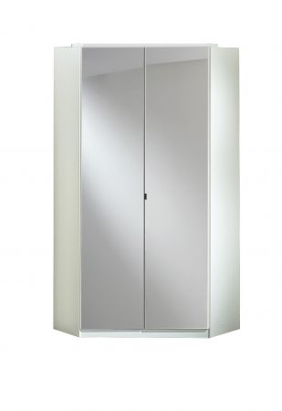Cobra Corner Unit With Two Mirrored Doors White