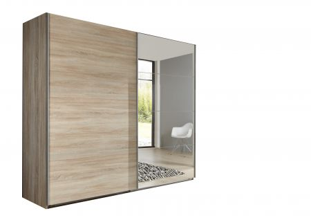 Emerald 225cm Wide 2 Door Sliding Wardrobe With Oak Finish Carcase And 1 Door Mirrored