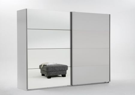 Emerald 225cm Wide 2 Door Sliding Wardrobe With Alpine White Finish Carcase And 1 Door Mirrored