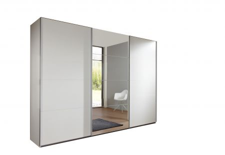 Emerald 270cm Wide 3 Door Sliding Wardrobe With Alpine White Finish Carcase And 1 Door Mirrored