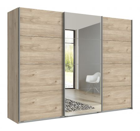 Exeter Slider 270cm 4 Mirror Panels Oak