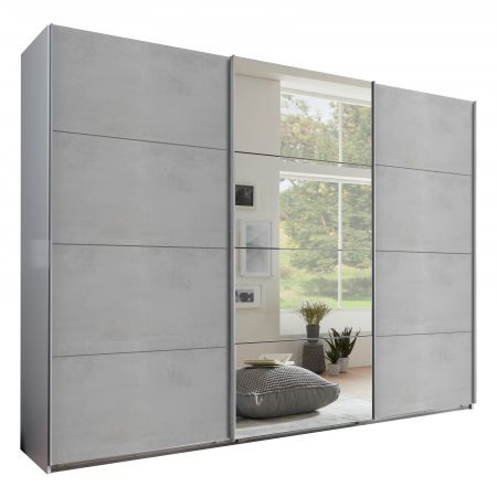 Exeter Slider 270cm 4 Mirror Panels White and Grey