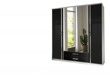 Trident 4 Door Robe With 2 Mirrors And Drawers White and Black