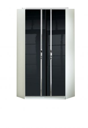 Trident 2 Door Corner Robe With  Fitted Interior White and Black
