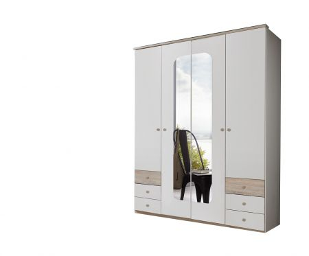 Brexling 180 cm Wide 4 Door Robe With 2 Mirrors And 6 Drawers White and Oak