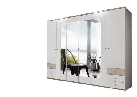 Brexling 270 cm Wide 6  Door Robe With 4 Mirrors And 6 Drawers White and Oak