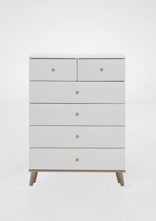 Brexling 2 Over 5 Drawer 81cm Wide Chest Of Drawers White and Oak