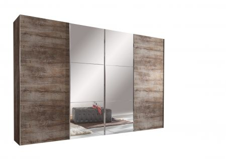 Entern Entern 350cm Muddy Oak A 4 Sliding Door Wardrobe With The Two Centre Doors Fitted With Mirror Glass Oak