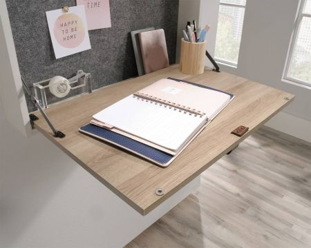 Avrin Leather Handled Wall Desk White