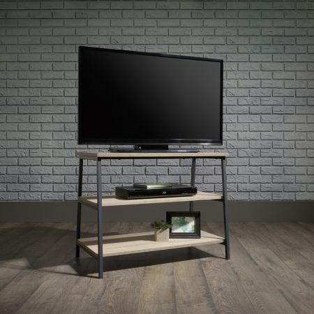 Industrial Style TV Stand/Trestle Shelf Oak