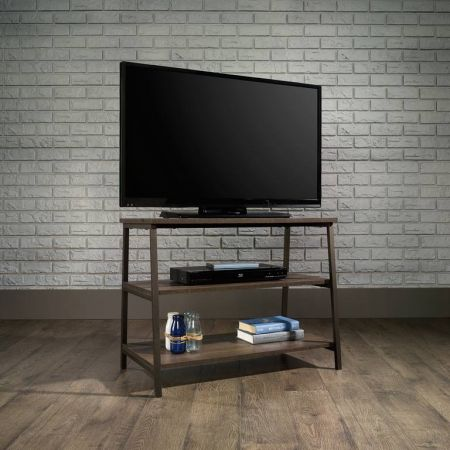 Industrial Style TV Stand/Trestle Shelf Smoked Oak