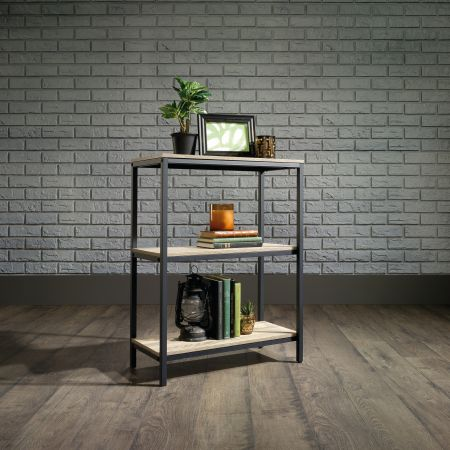 Industrial Style 2 Shelf Bookcase Oak