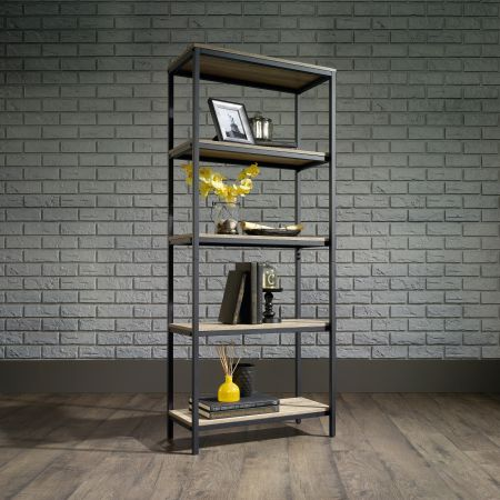 Industrial Style 4 Shelf Bookcase Oak