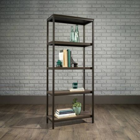 Industrial Style 4 Shelf Bookcase Smoaked Oak