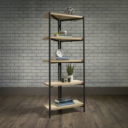 Industrial Style Chunky 4 Shelf Bookcase Oak