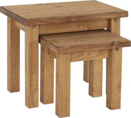 Toralso Nest of 2 Tables Distressed Waxed Pine