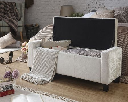 Emily Crushed Velvet Ottoman Storage Bench