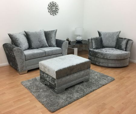 Vermont 2 Seater Hand Crafted sofa & Cuddle Chair with Footstool - Silver