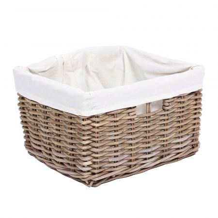 Wicker Mix Wicker Rectangular Basket With Hole Handles & Lining Grey