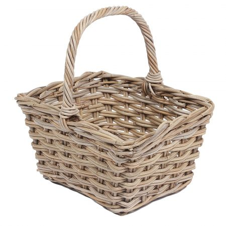Wicker Mix Wicker Square Flower Basket With High Handle Grey