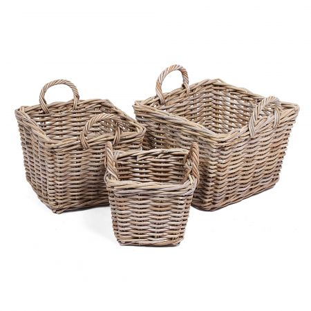 Wicker Mix Set Of 3 Square Wicker Baskets With Ear Handles Grey