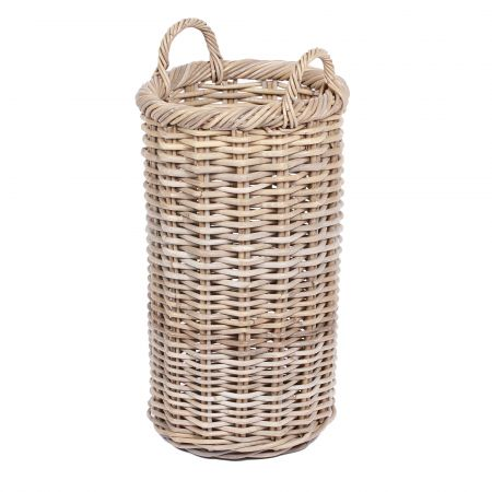 Wicker Mix Round Tapered Wicker Basket With Ear Handles Natural