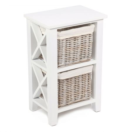 "Wicker Mix 2 Wicker Baskets Vertical ""X"" Cabinet In Matt White With Cotton Linings White"