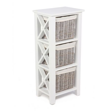 "Wicker Mix 3 Wicker Baskets Vertical ""X"" Cabinet In Matt White With Cotton Linings White"