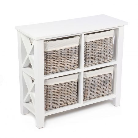 "Wicker Mix 4 Wicker Baskets Square ""X"" Cabinet In Matt White With Cotton Linings Grey"